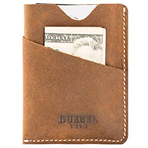 DUEBEL Handmade Card Holder, Thin Front Pocket Leather Wallet Brown