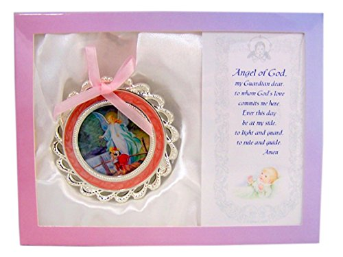 Personalized Child Prayer Card (Angel of God Guardian Angel Girls Pink Crib Medal Baby Gift Set)