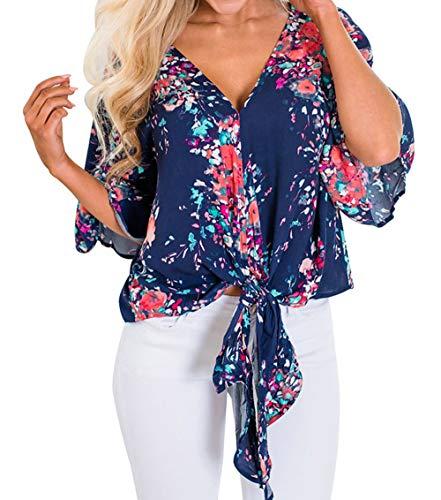 t 4 Imprime 3 Marin Blouses Haut Chemisiers Lache Tops Manches T Bleu V Col Casual Tee Shirt Shirts Femmes Freestyle Fashion Bw0d6fCCq