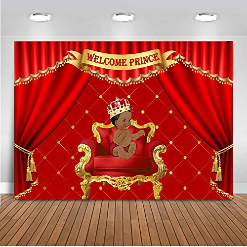 Mehofoto Royal Red Baby Shower Backdrop Little Prince
