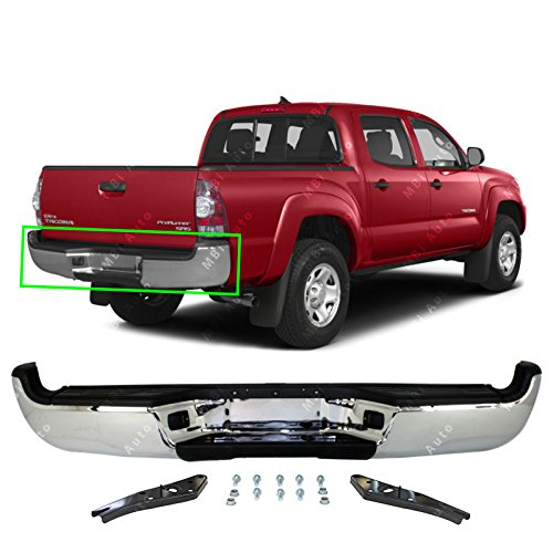 MBI AUTO - Chrome Steel, Complete Rear Bumper Assembly for 2005-2015 Toyota Tacoma SR5 Pickup 05-15, TO1103113