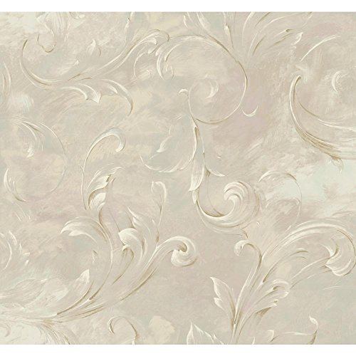 York Wallcoverings SH5595 Vintage Luxe Lg Arch Scroll Wallpaper, Beige, Lilac, Pale Green, White, Metallic Gold