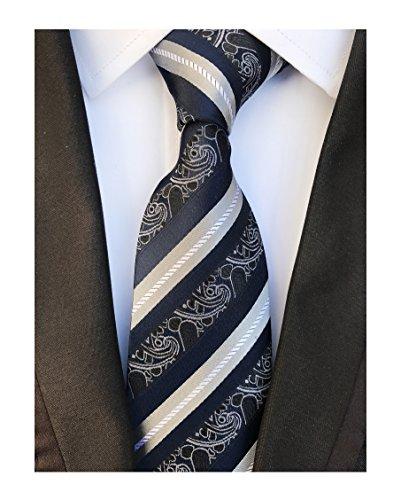 Navy Black Grey White Silk Tie Formal Dress Necktie Decent Holiday Gifts for ()
