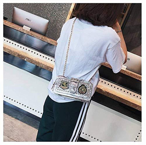 Transversal Señoras Bolso Sección Pequeño Mensajero La Cierre Bolsa Boca Salvaje Las Certificado De Plata Cuadrado Grieta Con Bo Cadena Bolsos Insignia Clip z6O7Yxwq