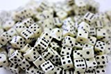 "Custom & Unique {Mini Small 3/16"" 5mm} 200 Ct Wholesale Bulk Lot Pack of 6 Sided [D6] Square Cube Shape Playing & Game Dice Made of Ivory w/ Classy Simple Original Design [Ivory & Black Colored]"