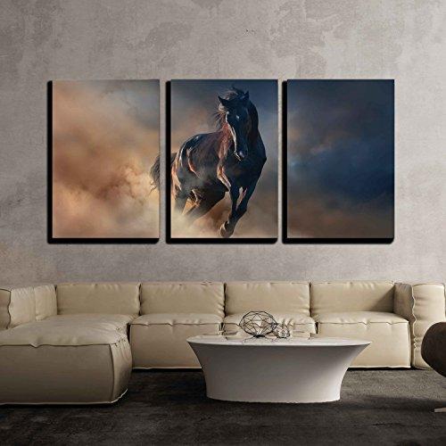 Beautiful Black Stallion Run in Desert Dust Against Sunset Sky x3 Panels