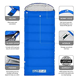 HONEST OUTFITTERS Sleeping Bag with Compression Sack, Envelope Portable and Lightweight for 3-4 Season Camping, Hiking, Traveling, Backpacking and Outdoor Activities Royal Blue (Single)