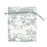 50PCS White Steer Drawstring Pouches Organza with Leaf Flower Pattern Jewelry Party Wedding Christmas Favor Gifts Bags 10x12cm