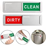 KitchenTour Clean Dirty Magnet for Dishwasher - Easy to Read Non-Scratch Magnetic Silver Indicator Sign with Clear, Bold & Colored Text