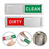 KitchenTour Clean Dirty Magnet for Dishwasher - Easy to Read Non-Scratch Magnetic Silver Indicator Sign with Clear, Bold & Colored Text - Upgrade Super Strong Magnet Version