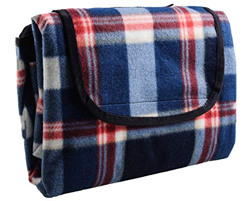 Fleece Picnic Stadium Blanket - HYSEAS HS Water Resistant All Purpose, X-Large Outdoor Blanket, Blue Plaid
