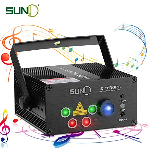 SUNY Party Stage Lights, Sound Activated Music Laser Projector 128 Combinations 5 Lens Gobos Laser Lighting Blue LED Remote Stage Lighting Red Green DJ Live Light Show Disco Party Dance Home Holiday]()