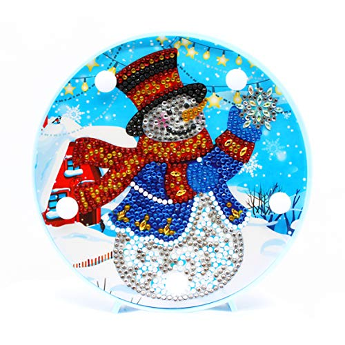 Diamond Painting LED Light Snowman 5D Full Drill by Number Kits Christmas Gifts or Embroidery Craft for Home Decoration-6.0in X 6.0in (Christmas-B) (Christmas Snowman Lights)