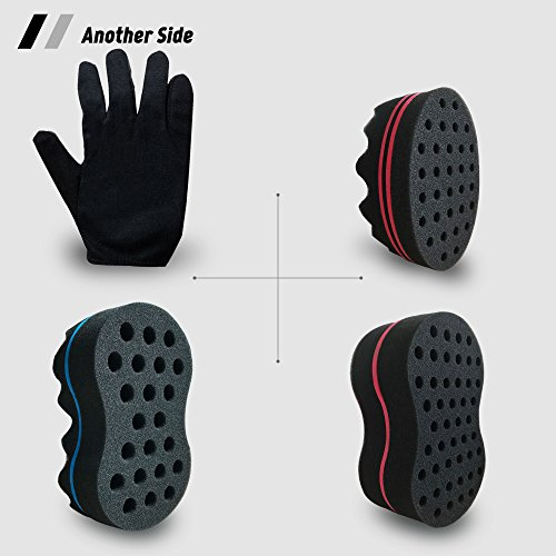 Big Holes Hair Brush Barber Curl Magic Sponge and Glove(Right) Kit Tutorial For Different Styles Dreadlock Twist Afro Coils Wave Curling Men and Women Hair Care Tool Set of 4(Blend)