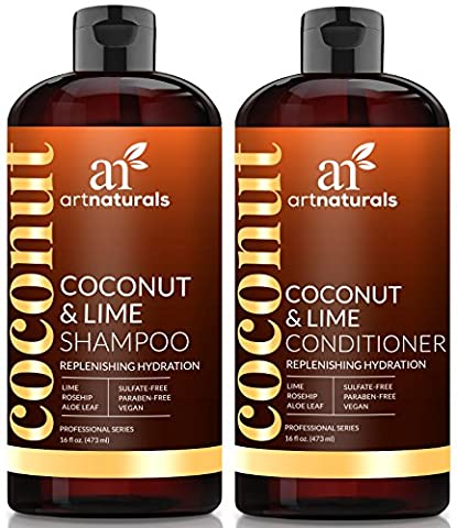ArtNaturals Coconut-Lime Shampoo and Conditioner Set – (16 oz X 2) - Replenishing Hydration - Deep Moisturizing For All Hair Types – Coconut, Lime, Aloe Vera and (Organics Coconut Conditioner)