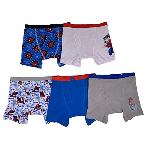 Marvel Little Boys' Spiderman 5 Pack Boxer Brief, Assorted, 4 (Toddler Boy Briefs 5t)
