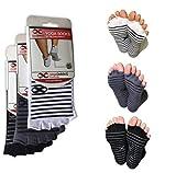 Toeless Socks Yoga, Pilates, Dance, Barre, Half Toe, Anti Non Slip Skid, 3 Pairs Review