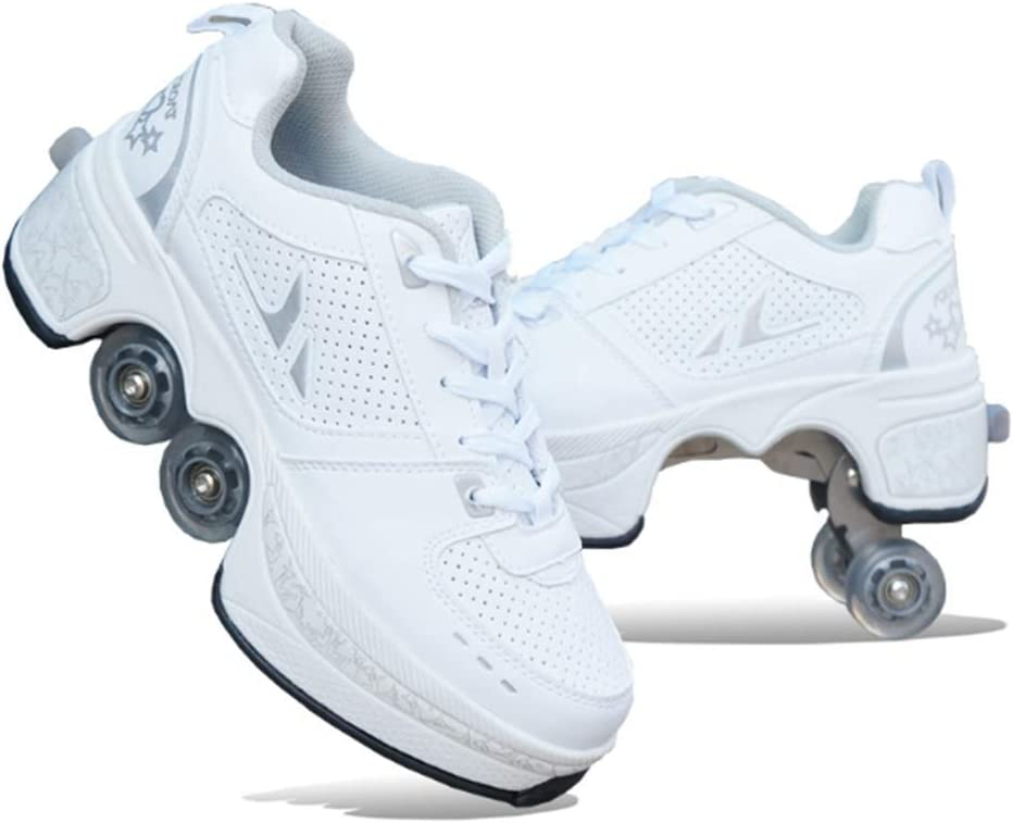 Amazon.com : Fashiums Deformation Roller Skates High Top Running Sports Shoes Double-Row Deform Wheel Skating Shoes : Sports & Outdoors
