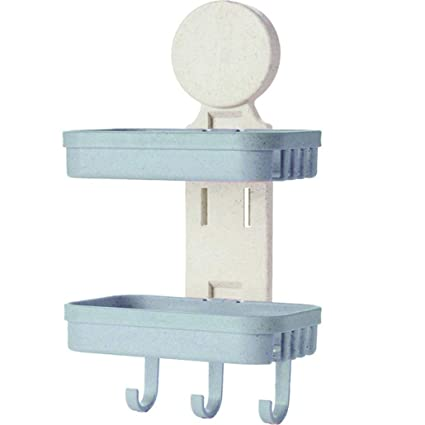 Powerful Suction Cup Soap Dish Holder Wall Mount For Bathroom Kitchen Blue