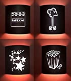 Black Home Movie Theater Sconces (Set of 4)