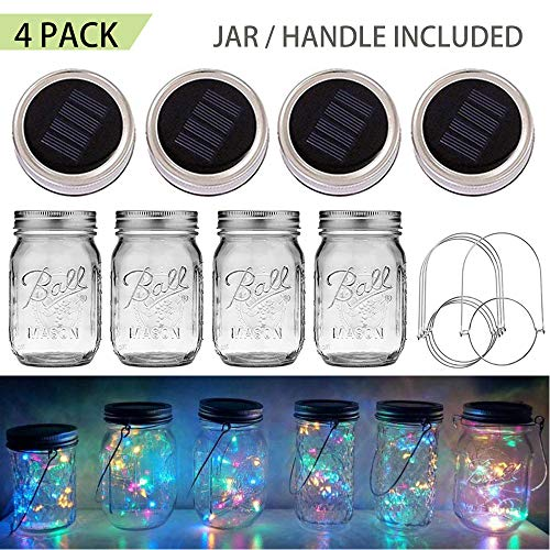 SunKite Solar Mason Jar Lights, 4 Pack 20 LED Waterproof Fairy Firefly Jar Lids String Lights (with Jars and Hangers), Patio Yard Garden Wedding Easter Decoration - Multicolor