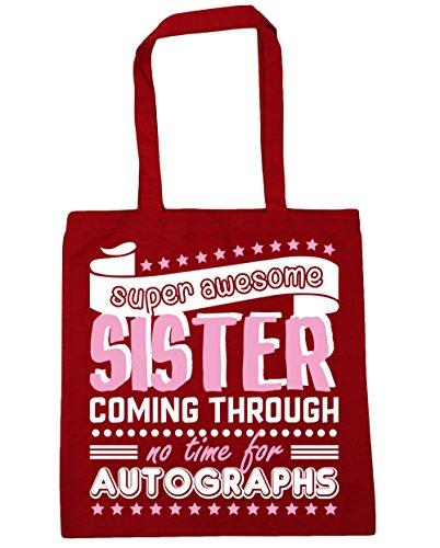 HippoWarehouse Super Toll Schwester Coming Durch No Time Für Autogramme Einkaufstasche Fitnessstudio Strandtasche 42cm x38cm, 10 liter - Klassisch Rot, One size