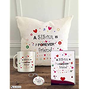 ALDIVO Combo Gift for Sister | Gift for Sister | Gift for Best Sister (12″ x 12″ Cushion Cover with Filler + Printed Coffee Mug +Greeting Card + Printed Key Ring)