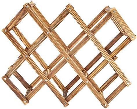 Holzbierregal, faltbares Holzbierregal Organizer Display Regal 10 Flaschen Kapazität Akkordeon Design Perfekt für Bierliebhaber und ihre eigene Weinsammlung