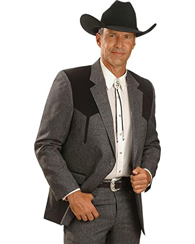 Circle S Men's Boise Western Suit Coat Short, Reg, Tall HTHR Charcoal 40 -