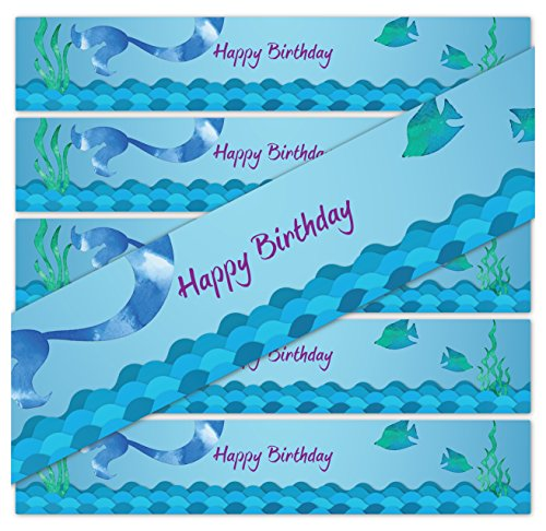 PRODUCT80 Mermaid Water Bottle Labels for Birthday Parties, Set of 24 WATERPROOF Stickers, EASY to Apply, Just Peel and Stick (Mermaid Birthday Party Ideas)