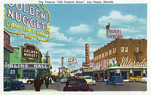 - Las Vegas, Nevada - View of the Famous Old Fremont Street (12x18 Fine Art Print, Home Wall Decor Artwork Poster)