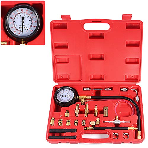 BETOOLL 0-140PSI Fuel Injector Injection Pump Pressure Tester Gauge Kit Car Tools (Master) (Best Fuel Pressure Tester)