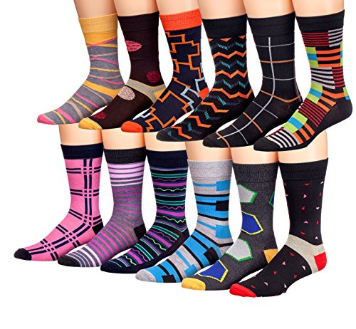 James Fiallo Mens 12 Pack Colorful Patterned Dress Socks M58
