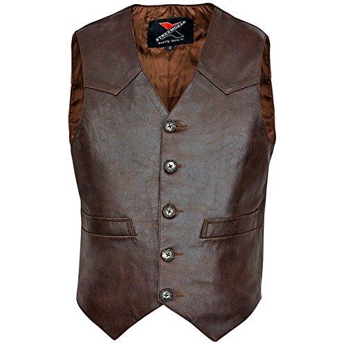 Mens Brown Leather Vest - 7