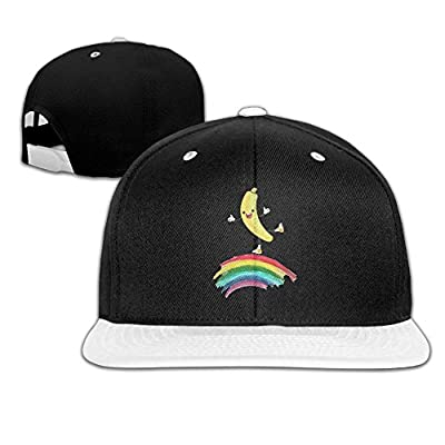 Rock Punk Trucker Hat Banana On Rainbow Unisex Baseball Caps Hip-hop Snapback White
