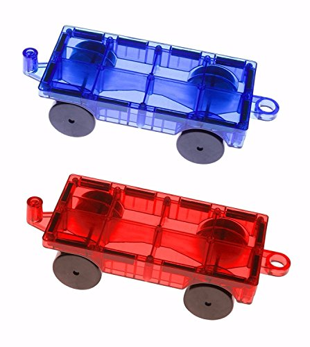 Mag-Genius Magnet Tiles Car Set Magnet Car Truck Train Magnet Building Tile Magnet Toy Add On, Red/Blue, 2 Piece ()