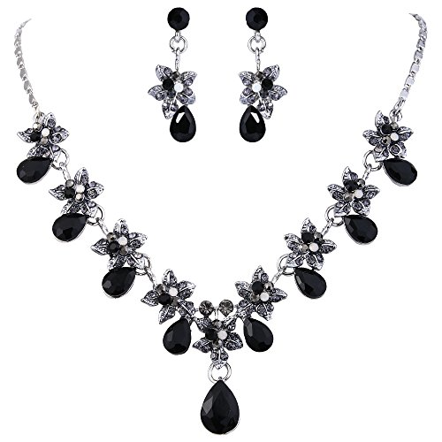 EVER FAITH Hibiscus Teardrop Austrian Crystal Necklace Earrings Set Silver-Tone - (Black Crystal Jewelry Set)