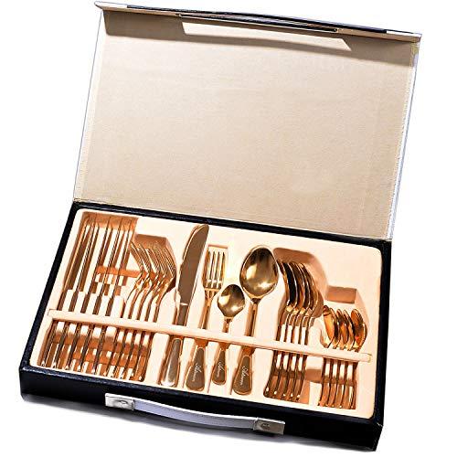 Flatware Set, 24-Piece Gold Silverware Set Stainless Steel Cutlery Set Service for 6, Dishwasher Safe Tableware for Home Kitchen Hotel Restaurant