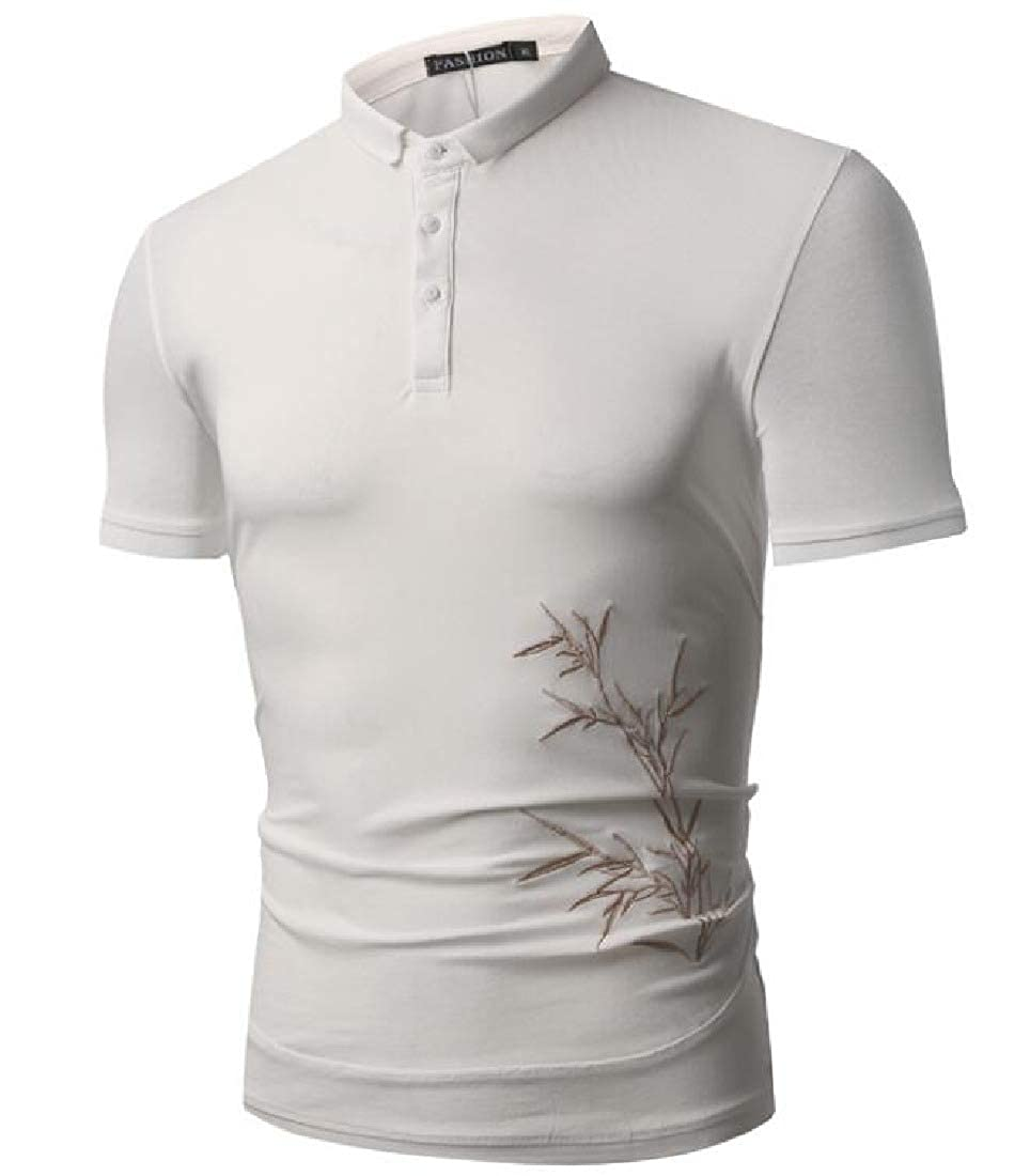 Frieed Mens Business Stylish Short Sleeve Embroidery Buttons Polo Shirts