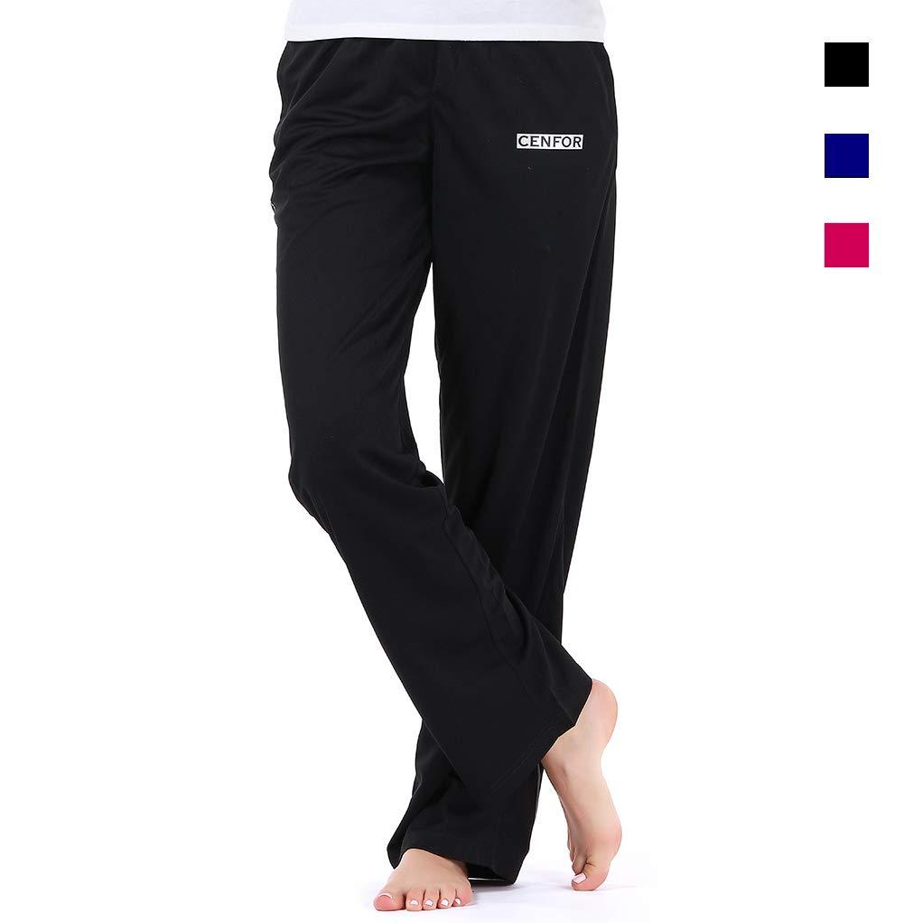 cenfor No See Through Women's Sweatpants Running Yoga Stretch Training Pants Loose Drawstring Jogger (Black, XL)