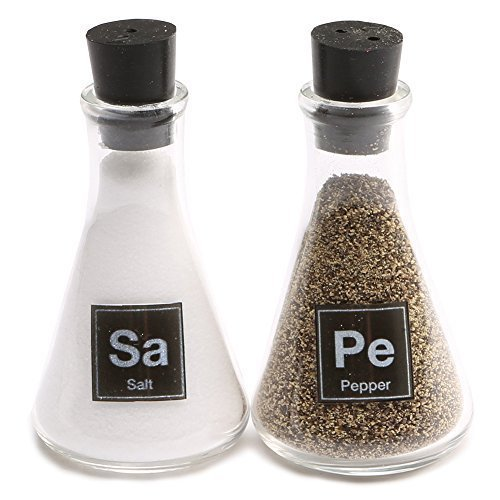 Wink Science Flask Salt and Pepper Shakers,Clear, Black,Small by Wink (Image #1)