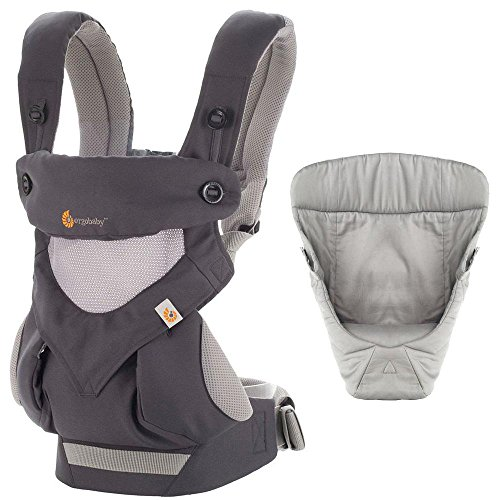 Ergobaby Bundle – 2 Items Carbon Grey All Carry Position 360 Baby Carrier, Easy Snug Infant Insert Grey
