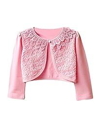 Aulase Kids Girls Base Cardigan Sweater Long Sleeve Vintage Lace Bolero Shrug