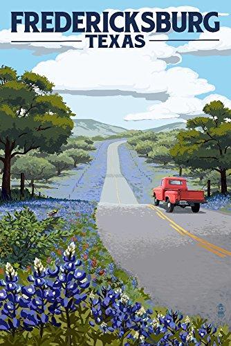 (Fredericksburg,Texas - Bluebonnets and Highway (12x18 Fine Art Print, Home Wall Decor Artwork Poster))