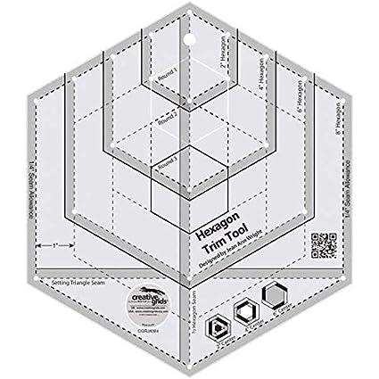 amazon com creative grids hexagon trim tool quilting ruler template