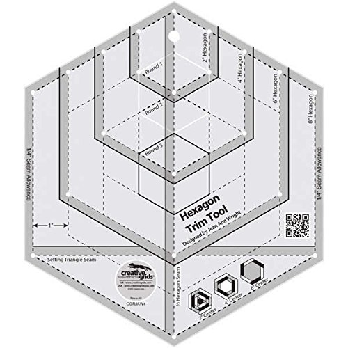Creative Grids Hexagon Trim Quilting Ruler - Tool Perfect Pieced Hexagons CGRJAW4