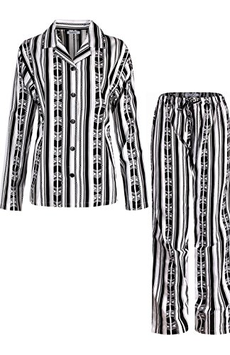 Flannel Pants Pajama Striped (2LUV Women's Patterned Cotton Flannel Long Sleeve PJ Set with Long Pants Black White S)