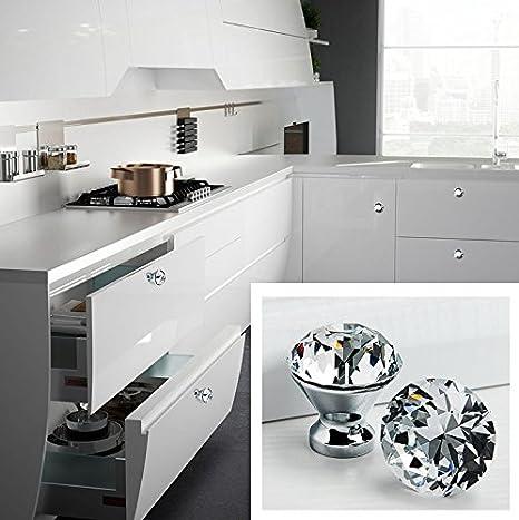 ZYMY 10 Piezas de Cristal en Forma de Diamante 30 mm caj/ón pomo Tirador Mango para caj/ón de cebinete mesilla de Noche vestidor y Pecho