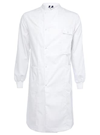 yarmo unisex lab coat howie style stretch cuffs white amazon co uk