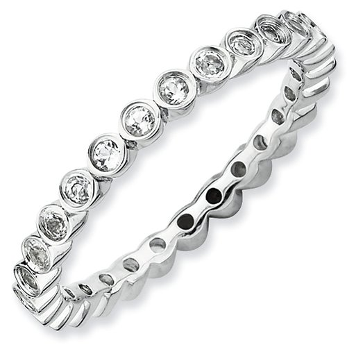 2.25mm Sterling Silver Stackable Expressions Bezel Set White Topaz Eternity Ring - Size 8 from Stackable Expressions